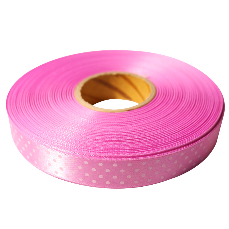 2.리본공단땡땡이(Satin Dot Print) SD#02 핑크 15mmx45m_대표